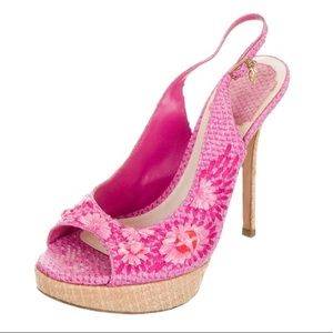 Christian Dior snakeskin heels, size 7
